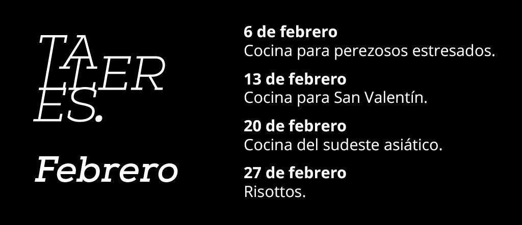 Plantilla calendario febrero talleres