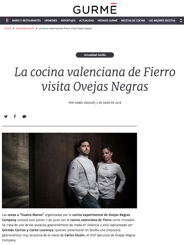 La cocina valenciana de Fierro visita Ovejas Negras