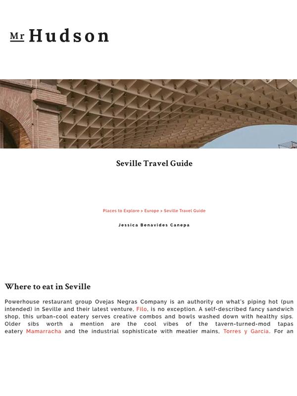 Mr Hudson. Seville Travel Guide. Where to eat in Seville